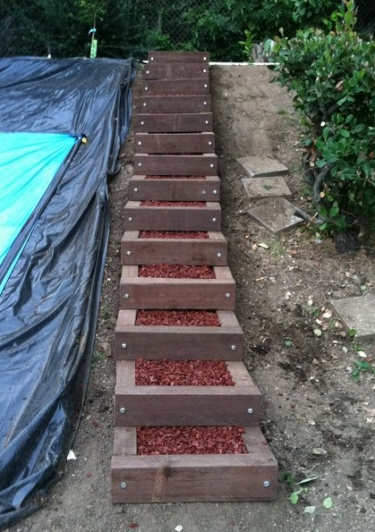how to build concrete steps into a hill